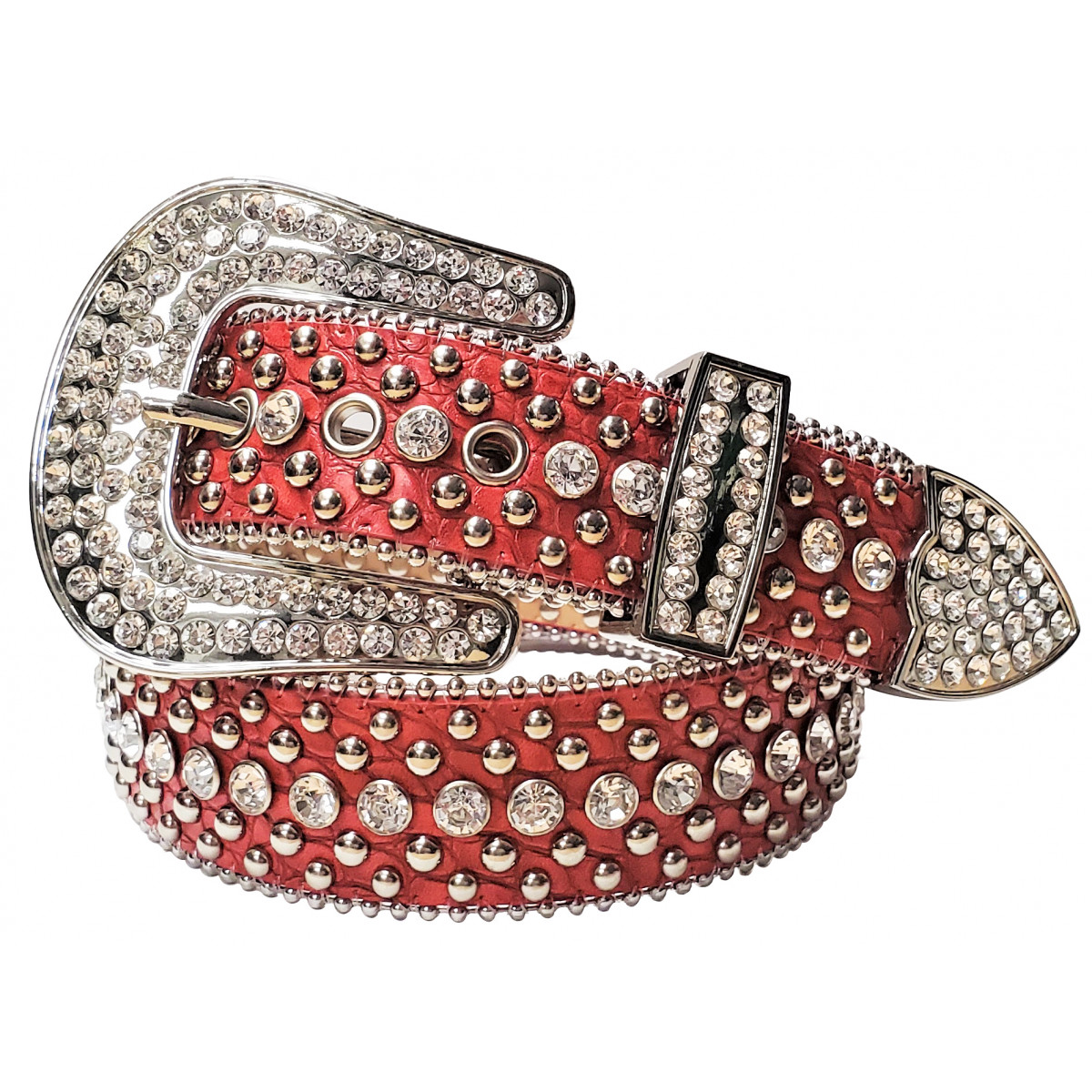 Rhinestone Belt - Cherry Red Belt with Silver Studs and Clear Rhinestones