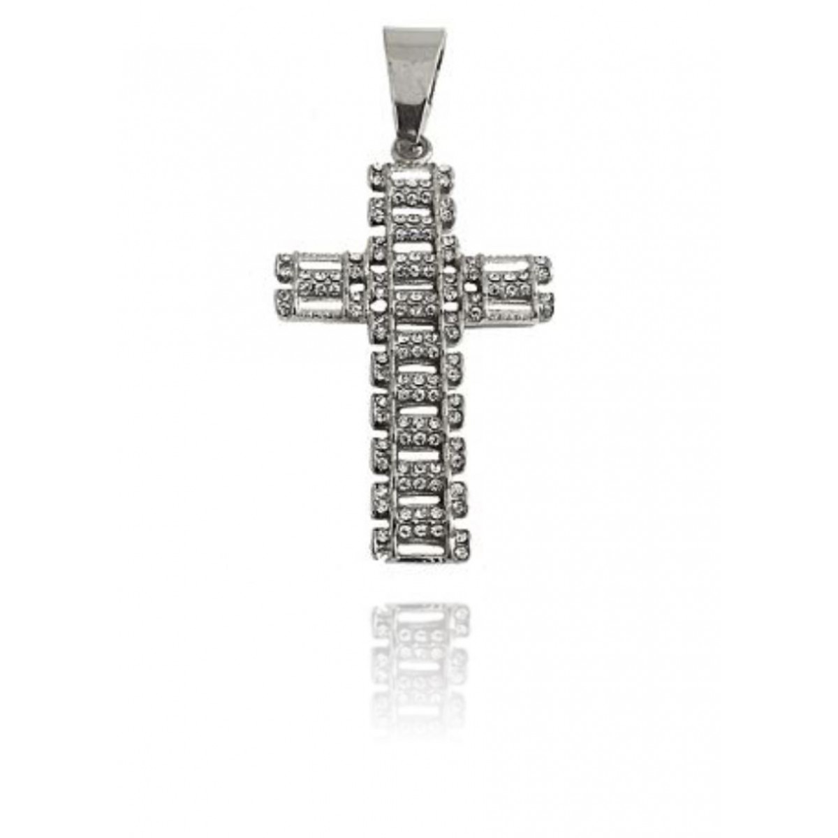 316L Stainless Steel CZ Cross Pendant