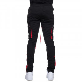 EPTM Biker Cargo Track Pants - Black/Red