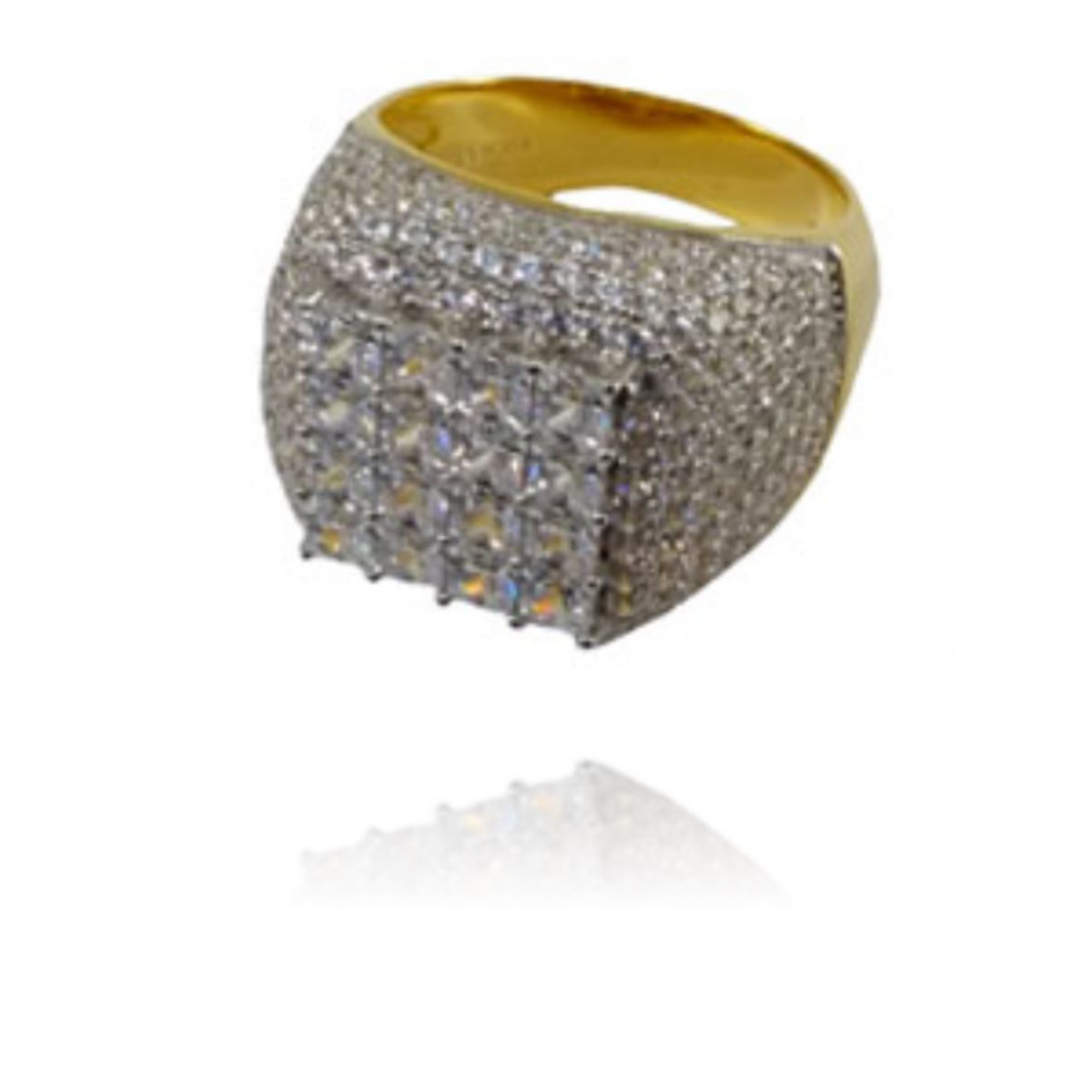.925 Sterling Silver AAA Grade CZ Ring - Gold and Silver