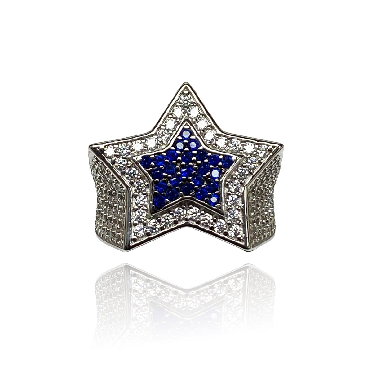 .925 Sterling Silver AAA Grade CZ Star Ring - Silver and Gold with Blue