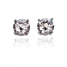 .925 Sterling Silver AAA Grade CZ Round Stud Earrings - Gold and Silver