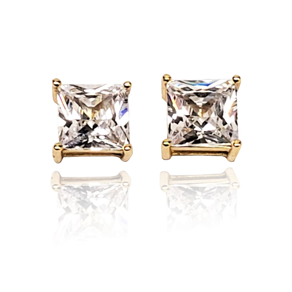 .925 Sterling Silver AAA Grade CZ Square Stud Earrings - Gold and Silver